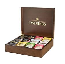 BNIB Twinings Dark Wood Tea Display Box - Brass Hinges -120 Mixed Wraped Teabags