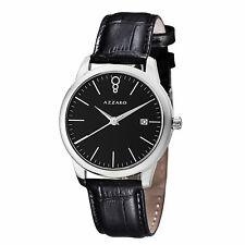 Azzaro Mens Legend Black Dial Black Leather Strap Quartz Watch AZ2040.12BB.000