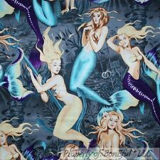 BonEful Fabric FQ Cotton Gray Purple Sea Beach Men Sexy Pin Up Lady Girl Mermaid