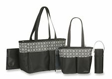 Carter's Mini Geo Print 5 Piece Diaper Bag Set, Black/White