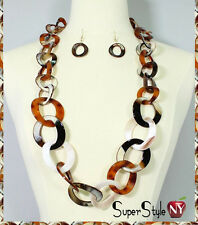 Long Design Brown Tortoise Shell Links Dangle Fashion Chain Necklace