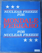 1984 MONDALE FERRARO for NUCLEAR FREEZE Campaign Poster  391501