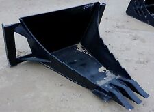 Long Bottom HD Quick attach Skid steer Stump / Root tooth bucket - Bobcat-Deere