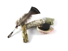 Sage smudge kit nettoyage, sweet grass, coquille d'haliotide