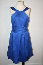 DAVID'S BRIDAL BLUE DRESS 8 COCKTAIL FORMAL PROM BRIDEMAIDS 100% COTTON