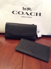 NWT~~ COACH Pebbled Leather Checkbook Wallet F52715 in Black $250.00