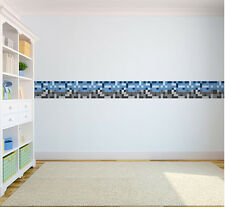 Blue Grey Pixel Wallpaper Border Self Adhesive Children's Bedroom Kids Stickers