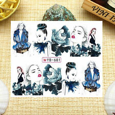 Nail Art Manicure Water Transfer Decal Stickers Fashion Girl YB681