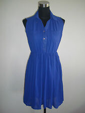 royal blue korean sleeveless collared sheer dress
