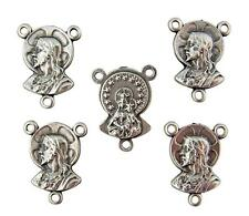 """5 Piece Set Rosary Centerpiece Sacred Heart of Jesus .65"""" from Italy"""