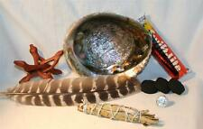 """Abalone Shell Yerba Santa Sage Charcoal Tablets 4 """" Wood Stand Smudging Feather"""