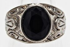 MEN RING BLACK ONYX STAINLESS STEEL SILVER DRAGON KNIGHT CARVE CELTIC SIZE 11.5