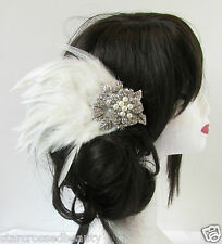 Ivory White Silver Rhinestone Feather Fascinator Headpiece Vtg 1920s Bridal S01