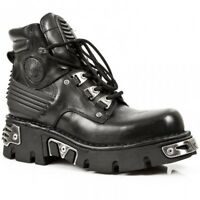NEWROCK New Rock 924 Metallic Mens Black Leather Boots