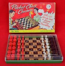 1960'S PLASTIC TRAVELLING CHESS/DRAUGHTS SET!  SOUND CONDITION!!
