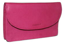 Saddler Leather Pouch Style Purse Wallet Zip Coin Section Fuchsia Pink