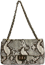 DESIGNER ITALIAN PYTHON EFFECT QUILTED REAL LEATHER CHAIN HANDBAG CLUTCH BAG BNT