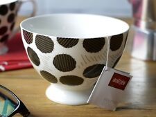 LA CAFETIERE Large Black Spot FINE CHINA Footed CEREAL BOWL