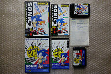 "Sonic the Hedgehog 1 + 2 Set of 2 games ""Good Condition"" Sega Megadrive Japan"
