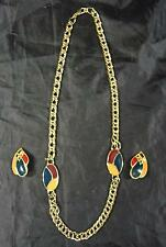 Vintage Reto Mid Century Green * Burgundy * Yellow Necklace & Earrings