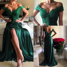 Long Formal Party Evening Cocktail Ball Bridesmaid Green Lace Prom Gown Dress