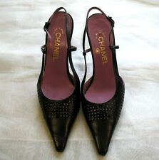 CHANEL Black leather Slingback Heels  Pointed toe Shoes US SZ Women's 7