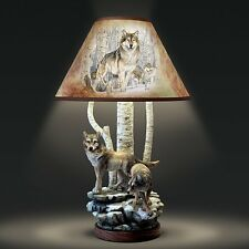 THE SPIRIT WOLF FOREST TABLETOP TABLE LAMP LIGHT HOME DECOR NEW