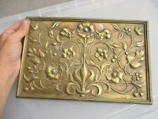 Antique Cast Brass Fire Hood Plaque Decorative Sign Art Nouveau Floral Vintage