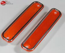 73-80 Chevy GMC Truck Amber Front Side Marker Lamp Light Lens Set Stainless Trim