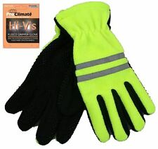 High-Viz Visibility Fleece Gripper Gloves Scotchlite Reflective Workwear winter