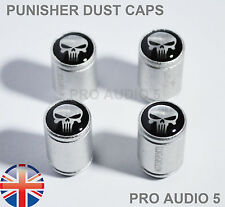 Silver Body PUNISHER SKULL Dust Caps - Universal Car Van - Tyre valve - UK Post