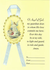 O Angel of God Prayer card (Large) with removable Guardian Angel on blue ribbon