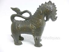 Antique Siam Bronze Guardian Lion small statue Singha Temple Protector
