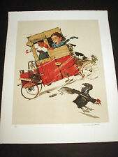 """Norman Rockwell Original Lithograph Hand Signed """"Racer"""""""
