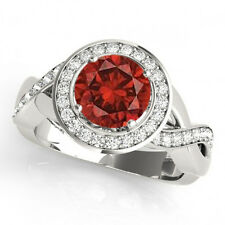 1.62 Carat Gorgeous Red Natural Diamond Solitaire Fancy Ring 14k Gold Beauty