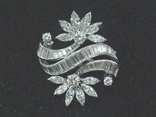 Platinum Multi Shape Diamond Pin / Brooch 4.10Ct E-F/VVS