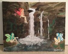 "Original Signed Semi Nude Fairy Painting with Waterfall 20"" X 16"" On Canvas"