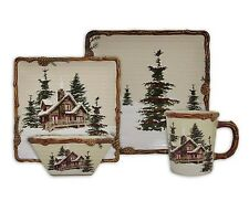 SNOW VALLEY Place Set Dinnerware Woodland Lodge Moose Country Stoneware Plate