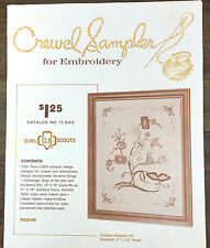 Vintage Jacobean Girl Scout Sampler Crewel Embroidery Kit