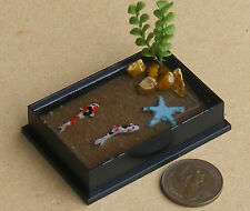 1;12 Oblong Plastic Pond With 2 Koi Carp Dolls House Miniature Garden Accessory