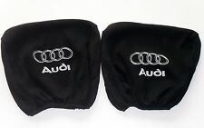 2 Headrest covers in BLACK for AUDI A2 A3 A4 A6 A8 B4 B6 B8 80