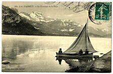 CPA 74 Haute-Savoie Lac d'Annecy Le Tournant de la Puya animé bateau