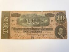 1864 Confederate States of America $10 Ten Dollar Bill Civil War Currency Note!