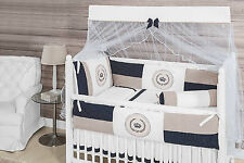 Crown Themed Navy Blue/Beige Baby Boy 10pcs Nursery Crib Bedding Set Embroidered