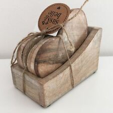 SASS & BELLE SET OF 6 WOODEN HEART COASTERS IN STORAGE BOX COFFEE TABLE DECOR