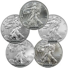Lot of 5 - Random Year 1 Oz American Silver Eagle Coins SKU39414