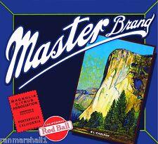 Porterville Master Yosemite El Capitan Orange Citrus Fruit Crate Label Art Print