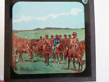 Military Theme Rare Coloured Lithographic Magic Lantern Slide No 56 - Soldiers