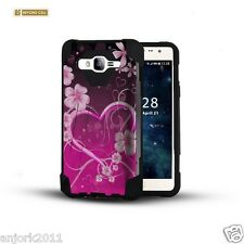 Rosy Heart Dual Layer Case w/Stand Skin Cover for Samsung Galaxy On5 G550