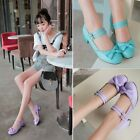 2015 Hot Lolita Mary Jane Womens Bowknot Ankle Strap Low Heels Shoes Plus Size